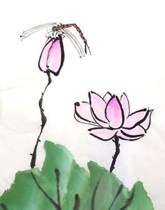 Chinese Brush, Easy Drawings, Design Inspiration, Flowers, Painting, Scribble, Made By Hands, Pen And Wash, Craft