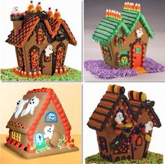 Haunted Gingerbread Houses,I have always wanted to do a Halloween gingerbread house. Halloween Gingerbread House, Christmas Gingerbread, Halloween House, Holidays Halloween, Halloween Party, Gingerbread Houses, Halloween Village, Halloween Season, Halloween Kids