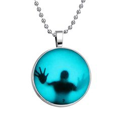 Steampunk Fire Glow in the Dark necklaces Glowing Shadow Pendant Necklace Stainless Steel Chain necklace