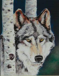 Gray Wolf  Wildlife Print in Woodland setting for by ViviansART #gift #art #wildlife