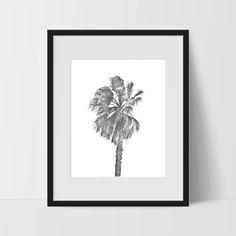 Palm Tree Wall Art, Hawaiian Tropical Black and White Modern Art, Prints