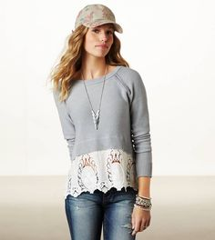 American Eagle Outfitters Lace Crochet Sweater