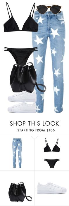 """Untitled #3657"" by lily-tubman ❤ liked on Polyvore featuring STELLA McCARTNEY, Melissa Odabash, Rachael Ruddick, adidas Originals, Christian Dior, women's clothing, women's fashion, women, female and woman"