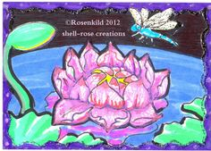 Original dragonfly painting ACEO lotus Fantasy Garden Pond water lily art card