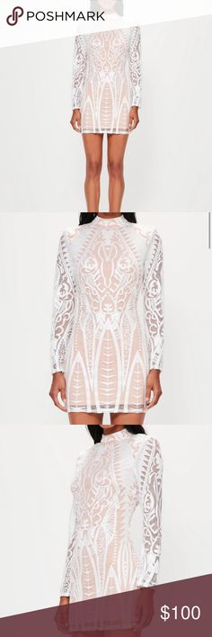 NWT White lace bodycon dress Never worn / new with tags / brand new condition / shoulder pads for the broad shoulder look / brand - peace + love , the designer brand at missguided Missguided Dresses Mini