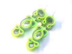 Soutache Earrings, Moustache, Washer Necklace, Amy, Neon, Handmade, Mustache, Moustaches, Hand Made