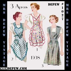 Vintage Sewing Pattern Reproduction Apron in 3 Styles Digital Print-At-Home Depew 1027 -INSTA Vintage Apron Pattern, Retro Apron, Aprons Vintage, Vintage Clothing, Vintage Dresses, Vintage Items, Sewing Aprons, Dress Sewing Patterns, Vintage Sewing Patterns