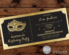 MASQUERADE Birthday Party Ticket Invitation Gold Mask Invite Elegant Black INSTANT DOWNLOAD Foil Tickets Any Age Editable & Printable