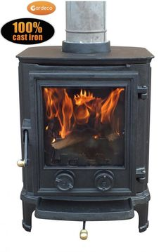 multi fuel cast iron stove with large glass screen. Metal Shed, Multi Fuel Stove, Cast Iron Stove, Victorian Design, Garden Buildings, Wood Burning, Garden Furniture, Glass Door, Stoves