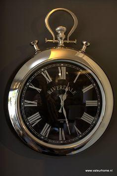 Riverdale Klok Ritz L wijzerpl. zwart | Klokken incl. Riverdale | Valeur Home Decoration