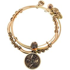 Pre-owned Retired Alex And Ani May Birthflower Month Set Of 3... ($103) ❤ liked on Polyvore featuring jewelry, bracelets, accessories, russian gold, alex and ani bracelet, yellow gold bracelet, gold bracelet bangle, gold jewellery and alex and ani