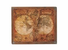 41x34 Antiqued Vintage-Look Old World Map Wood Wall Art