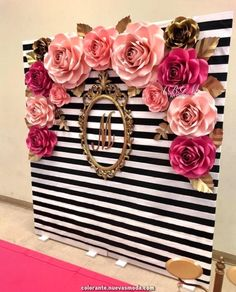 Kate spade inspired photo booth large medium and small roses in colors hot pink pink soft pink and gold Birthday Party Decorations, Wedding Decorations, Debut Decorations, Pink And Gold Decorations, Wedding Ideas, Trendy Wedding, Gold Wedding, Wedding Colors, Kate Spade Party