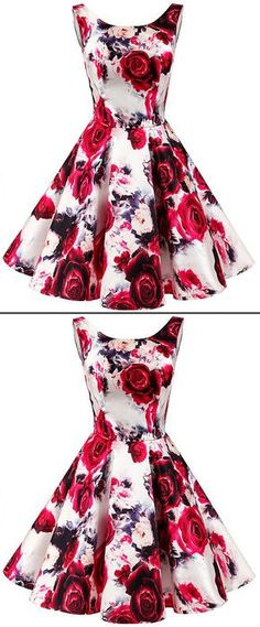 In Stock Eye-catching Floral Satin Scoop Neckline Short Length A-line Sweet 16 Dress