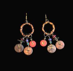 Boho Wood Bead Earrings, Ethnic Earrings, 1980's Earrings, Tribal Earrings