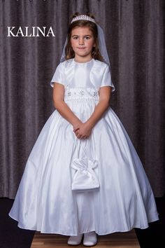 Plain Simple White Satin Communion Dress Crystal Beaded Waistband and Bolero- Kalina - Celebrations - Girls Communion Dress - First Holy Communion
