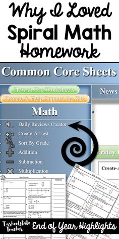 Why I loved Spiral Math homework for my and graders; make your own spiral math homework Math Worksheets, Math Resources, Math Activities, Love Math, Fun Math, Spiral Math, 5th Grade Math, Fourth Grade, Elementary Math