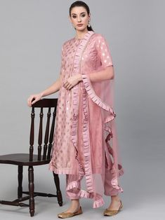 Pristine pink foil printed salwar suit style with ethnic motif also comes with silk blend bottom and net dupatta. Indian Dresses For Women, Indian Dresses Online, Designer Party Wear Dresses, Kurti Designs Party Wear, Lehenga Style, Indian Party Wear, Western Dresses, Salwar Suits, Fashionable Outfits