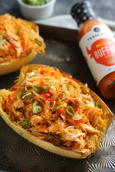 Buffalo Chicken Stuffed Spaghetti Squash | The Real Food Dietitians | http://therealfoodrds.com/buffalo-chicken-stuffed-spaghetti-squash/
