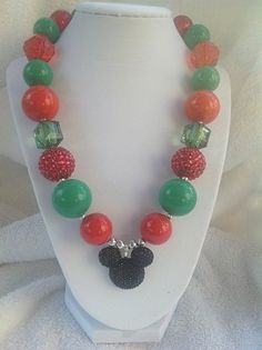 Red, Green Mouse Necklace