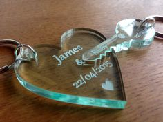 Personalised Glass Effect Wedding / Anniversary Laser Cut Engraved Key to Heart Keyrings Gift / Present