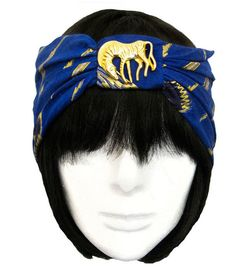 Safari Mezzo Turban with Gold Zebra Brooch, blue, lapis, vintage, repurposed, handmade, striped , floral, 1920s, gatsby, flapper #mildaDesigns #turban #turbans #magic #art #bridal #bride #GreatGatsby #Gatsby #flapper #1920s