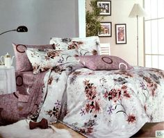 King size 100% Cotton bedsheet Ivory bedsheet with brown flowers