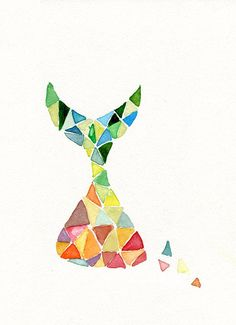 Art print , Time is Running , abstract geometric colorful, limited edition
