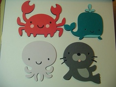 Ocean Babies:  Set of 4 Cards - Sea Creatures - Kids Cards- Crab Whale Octopus Seal - Shaped Cards