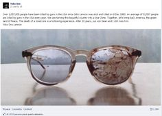 John Lennon's glasses from the day he was murdered.. Picture posted by Yoko Ono in respect to the gun violence in the US..