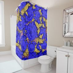 #Blue Peonies Shower Curtain - #Bathroom #Accessories #home #living