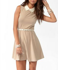 Fall Dresses, Cute Dresses, Vintage Dresses, Cute Outfits, Dresses For Work, Beige Dresses, Studded Collar, Classy Casual, Chic Dress