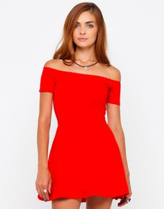 Motel Catalina Off Shoulder Skater Dress in Red, Top Shop, ASOS, House of Fraser, Nastygal