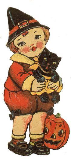 Child in Witch Costume with Black Cat & Jack O'Lantern Vintage Illustration