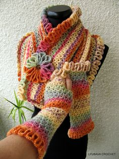"Tutorial Crochet PDF ""Happy Autumn Colors"" Infinity Scarf, Trendy Crochet  Cowl Scarf Fashion Autumn 2012, Lyubava Crochet Pattern number 58. via Etsy."
