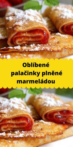 Oblíbené palačinky plněné marmeládou French Toast, Breakfast, Water, Morning Coffee