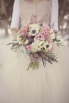 3/4 length, winter, flowers, alternative, jacket, floral, dress, bouquet, ivory, white, tulle, trumpet, long, real, herbs, other, poppy, rose, lavender