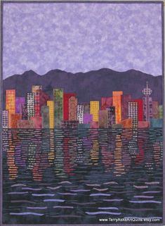 Vancouver Cityscape at Dusk quilt by Terry Aske