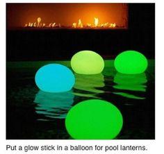 Put a glow stick in a balloon to make floating pool lanterns