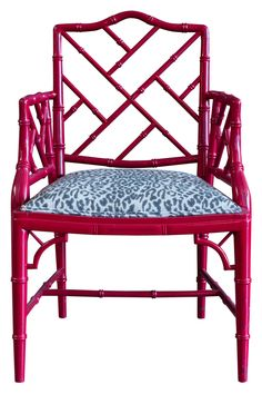 Chinese Chippendale chair in dark pink!!! Bebe'!!! Love this Chippendale chair!!! Awesome pink color!!!