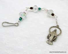 Three Hail Mary Rosary Chaplet in Faceted Crystal by unbreakablerosaries.com, $14.00