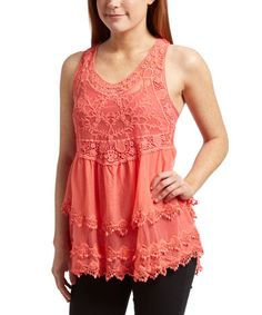 Love this Coral Embroidered Racerback Tank on #zulily! #zulilyfinds