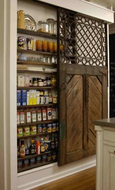 sliding door.  What a space saver if you don't have room for a full cupboard pantry!