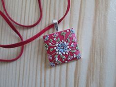 Squared Red Floral Pendant by FernandaMcCormack on Etsy