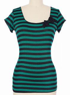 Striped Siren Top in Black  Teal $34.00 AT vintagedancer.com