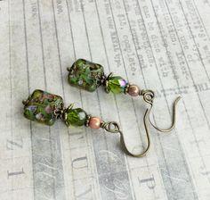 Green Earrings Rose Earrings Olive Earrings Olive by SmockandStone