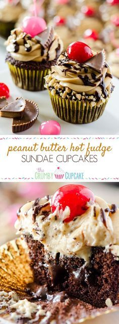 Take a bite of cupcake heaven! Tender chocolate cupcakes, stuffed with hot fudge sauce and topped with peanut butter mousse, these decadent Peanut Butter Hot Fudge Sundae Cupcakes won't melt like ice cream.but you might need a glass of milk to wash them Cupcake Flavors, Cupcake Recipes, Cupcake Cakes, Dessert Recipes, Cupcake Ideas, Sundae Cupcakes, Yummy Cupcakes, Butter Cupcakes, Eclairs