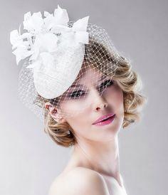 Floral Headpiece Bridal Pillbox Hat in Off by EllaGajewskaBRIDAL