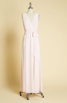 Celebrate your bestie and her beloved by making your procession in this elegant, light pink maxi dress! Boasting a surplice neckline above a sash-tied waist, hidden side pockets, and a flowy skirt, this chiffon bridesmaid gown from our ModCloth namesake l Dama Dresses, Plus Size Maxi Dresses, Nice Dresses, Dresses With Sleeves, Amazing Dresses, Pink Maxi, Plus Size Vintage, Vintage Inspired Dresses, Chiffon