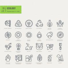 Thin line icons set. Icons for environmental, recycling, renewable energy, natur , Icon Set, Urban Icon, Social Network Icons, Simple Icon, Thin Line, App Logo, Pictogram, Monogram Logo, Line Icon